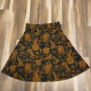 Yellow and teal LULAROE  Skirt